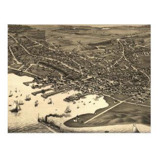 Mapa ilustrado del vintage de Nantucket (1881) Postal