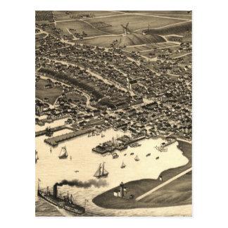 Mapa ilustrado del vintage de Nantucket (1881) Tarjetas Postales