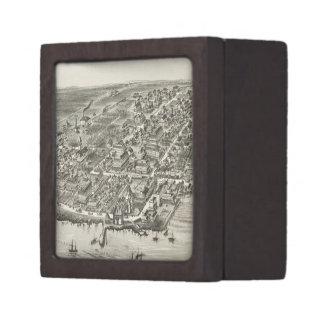 Mapa ilustrado del vintage de Narragansett RI (188 Cajas De Recuerdo De Calidad