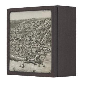 Mapa ilustrado del vintage de Narragansett RI (188 Caja De Recuerdo De Calidad