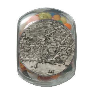 Mapa ilustrado del vintage de Narragansett RI (188 Frascos Cristal