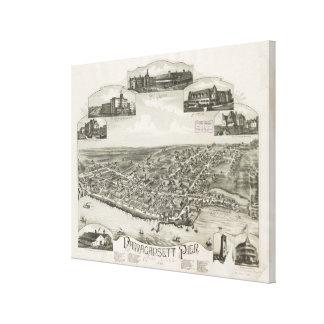 Mapa ilustrado del vintage de Narragansett RI (188 Lona Envuelta Para Galerias