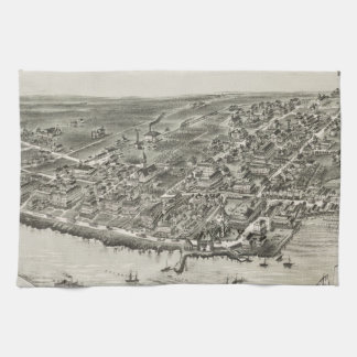 Mapa ilustrado del vintage de Narragansett RI (188 Toalla