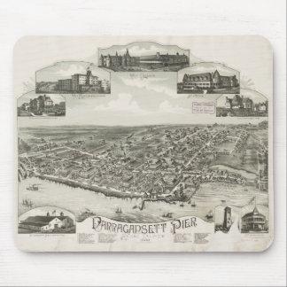 Mapa ilustrado del vintage de Narragansett RI (188 Tapetes De Ratón