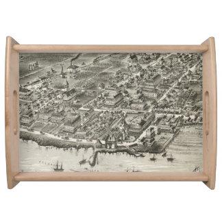 Mapa ilustrado del vintage de Narragansett RI Bandejas
