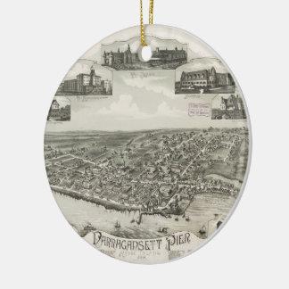 Mapa ilustrado del vintage de Narragansett RI Adornos