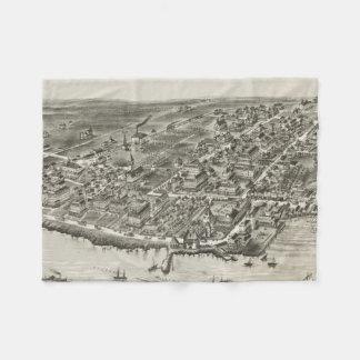 Mapa ilustrado del vintage de Narragansett RI Manta De Forro Polar