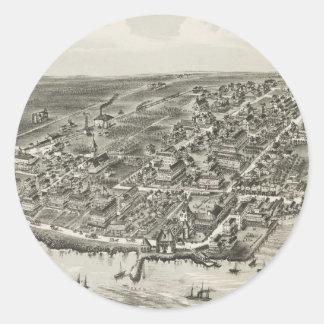Mapa ilustrado del vintage de Narragansett RI Pegatina Redonda