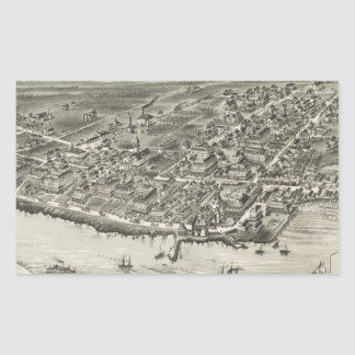 Mapa ilustrado del vintage de Narragansett RI Rectangular Pegatinas