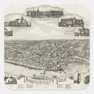 Mapa ilustrado del vintage de Narragansett RI Pegatinas Cuadradases