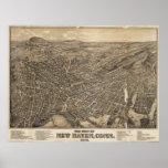 Mapa ilustrado del vintage de New Haven CT (1879) Impresiones