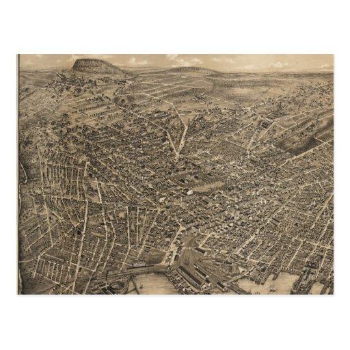 Mapa ilustrado del vintage de New Haven CT (1879) Postal