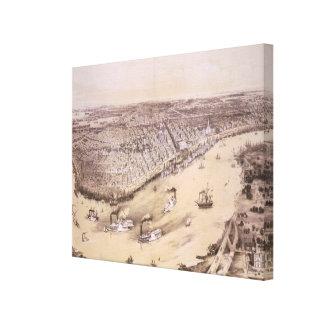 Mapa ilustrado del vintage de New Orleans (1851) Impresion De Lienzo
