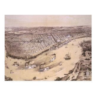 Mapa ilustrado del vintage de New Orleans (1851) Postales