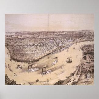 Mapa ilustrado del vintage de New Orleans (1851) Póster
