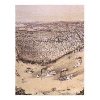 Mapa ilustrado del vintage de New Orleans (1851) Tarjetas Postales