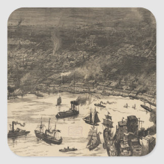 Mapa ilustrado del vintage de New Orleans (1884) Pegatina Cuadrada