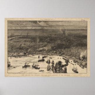 Mapa ilustrado del vintage de New Orleans (1884) Póster