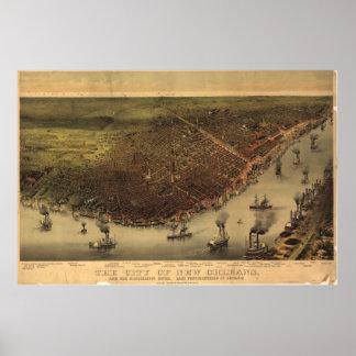 Mapa ilustrado del vintage de New Orleans (1885) Póster