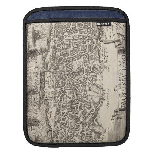 Mapa ilustrado del vintage de New York City (1672) Fundas Para iPads