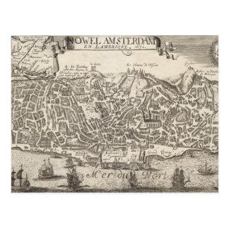 Mapa ilustrado del vintage de New York City (1672) Postal