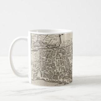Mapa ilustrado del vintage de New York City 1672 Taza De Café
