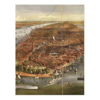 Mapa ilustrado del vintage de New York City (1870) Tarjetas Postales