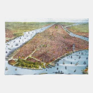 Mapa ilustrado del vintage de New York City (1879) Toallas De Mano
