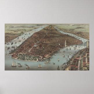 Mapa ilustrado del vintage de New York City (1883) Póster