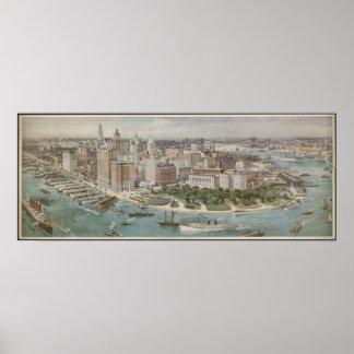 Mapa ilustrado del vintage de New York City (1914) Póster