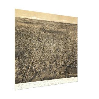 Mapa ilustrado del vintage de Newark NJ (1874) Lona Estirada Galerías
