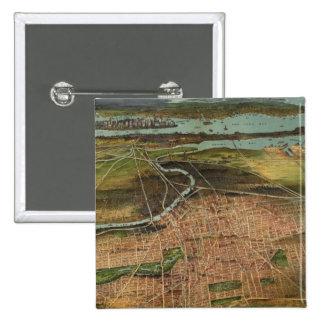 Mapa ilustrado del vintage de Newark NJ 1916 Pin