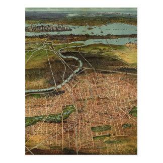 Mapa ilustrado del vintage de Newark NJ (1916) Postales