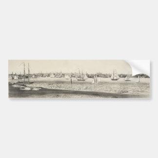 Mapa ilustrado del vintage de Newport RI 1860 Pegatina De Parachoque