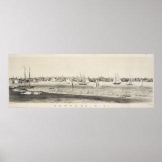 Mapa ilustrado del vintage de Newport RI (1860) Poster