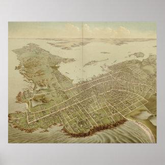 Mapa ilustrado del vintage de Newport RI (1878) Poster