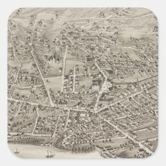 Mapa ilustrado del vintage de Newton mA (1878) Calcomania Cuadrada Personalizada