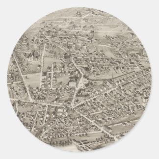 Mapa ilustrado del vintage de Newton mA (1878) Pegatina Redonda