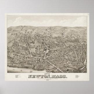Mapa ilustrado del vintage de Newton mA (1878) Póster