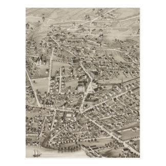 Mapa ilustrado del vintage de Newton mA (1878) Tarjeta Postal