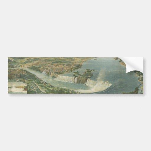Mapa ilustrado del vintage de Niagara Falls NY (18 Etiqueta De Parachoque