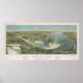 Mapa ilustrado del vintage de Niagara Falls NY (18 Poster