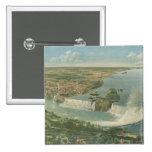 Mapa ilustrado del vintage de Niagara Falls NY (18 Pin Cuadrada 5 Cm