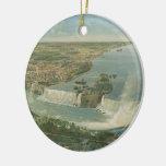 Mapa ilustrado del vintage de Niagara Falls NY Adorno De Reyes