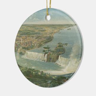 Mapa ilustrado del vintage de Niagara Falls NY Adorno Redondo De Cerámica