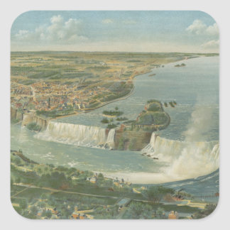 Mapa ilustrado del vintage de Niagara Falls NY Calcomania Cuadrada Personalizada