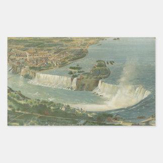 Mapa ilustrado del vintage de Niagara Falls NY Rectangular Pegatinas