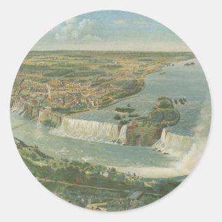 Mapa ilustrado del vintage de Niagara Falls NY Pegatinas Redondas