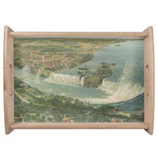 Mapa ilustrado del vintage de Niagara Falls NY Bandejas