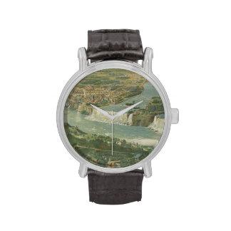 Mapa ilustrado del vintage de Niagara Falls NY Reloj